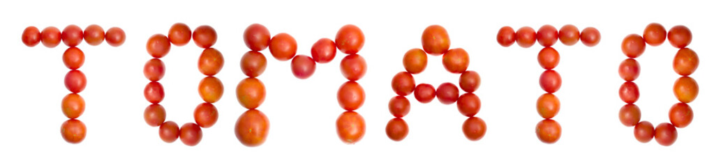 """The word """"TOMATO"""" from red ripe tomatoes on white"""