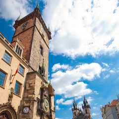 Old Town Square in Prague against the blue sky