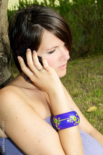 girl in campaign to the telephone