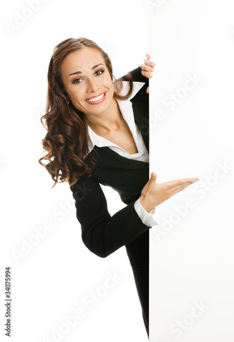 Business woman showing blank signboard, isolated on white