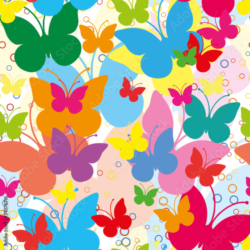 Vivid seamless background with butterflies, vector