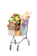 A studio shot of a shopping bag full with healthy groceries