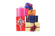 Pile of gift boxes of various sizes and colors
