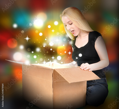Woman with Gift Present Box