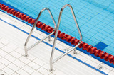 metal handrail on swimming pool poster