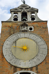 Venice the big clock of the Saint Giacomo Rialto church,