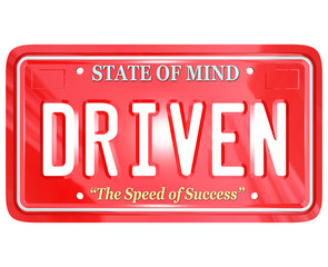 Driven Word on Red License Plate - Driving to Success