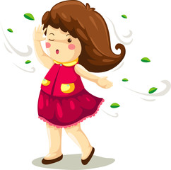 Girl in windy