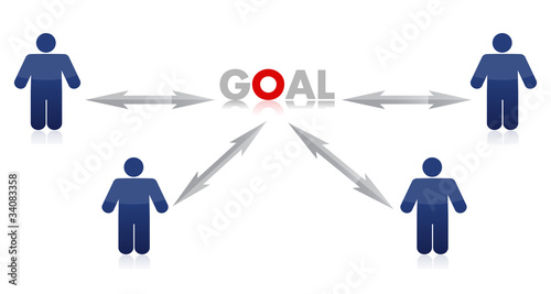 People to goal illustration design over white