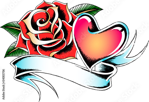 """Heart With Rose And Banner: """"rose And Heart Ribbon Banner"""" Stock Image And Royalty"""