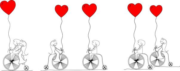 свадебная фотография, велосипеды жениха и невесты езды, вектор