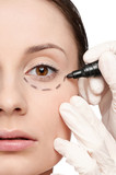Correction lines on woman face, before surgery operetion poster