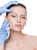 Beautician touch and exam health woman face poster