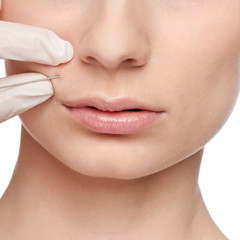 Cosmetic botox injection in the beauty face