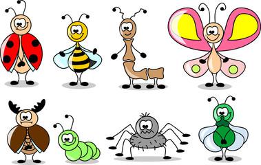 мультфильм набор различных насекомых