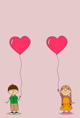 Девочка и мальчик проведение шар сердце