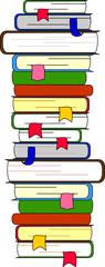 Много книг лежал в высокой стойке