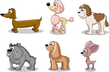набор мультфильм собак разных пород
