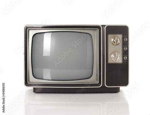 Stary telewizor odizolowywający na bielu