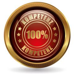 100% Kompetenz - Button gold rot