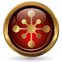 Netzwerk - Button gold rot