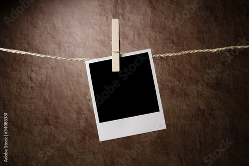 Empty instant photo on grunge background