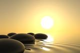 Fototapety Zen stones in water on white background