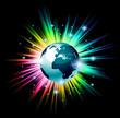 Globe 3D illustration with a rainbow light explosion