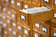 Leinwanddruck Bild - database concept. vintage cabinet. library card or file catalog.