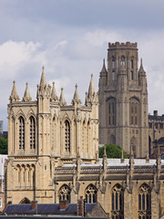 The neo-classical towers of Bristol university and cathedral