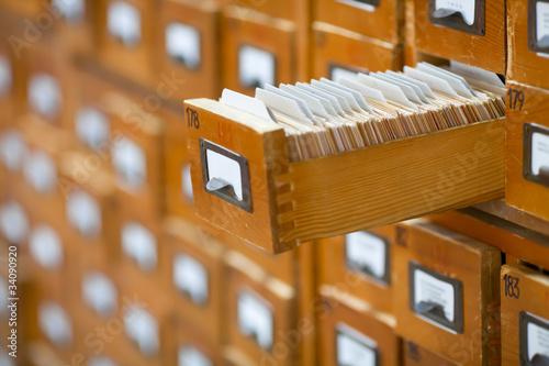 Leinwanddruck Bild database concept. vintage cabinet. library card or file catalog.