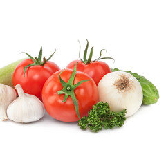 fresh vegetables, isolated on white background