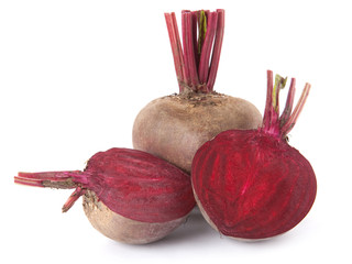 Beet purple vegetable isolated on white background.