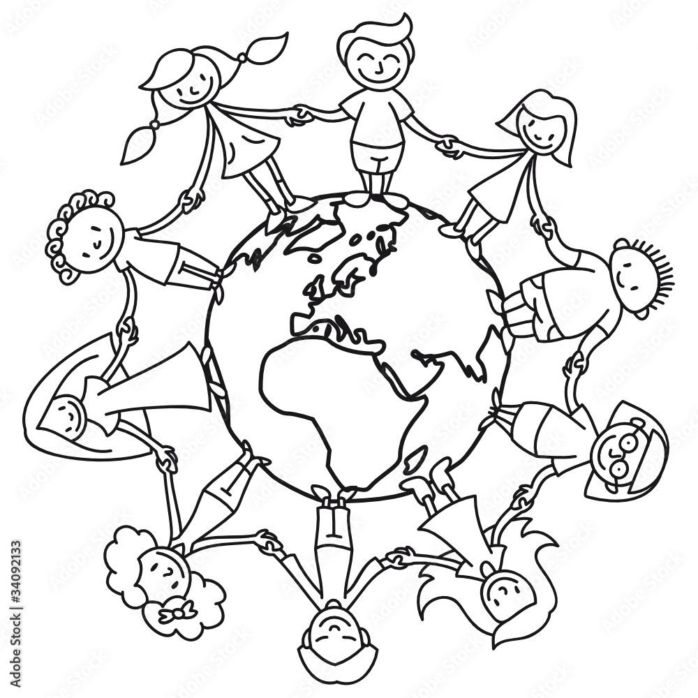 Kinderkreis Erde Ausmalbild Wall Sticker Stickers