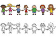 Kinder, Menschenkette, Freundschaft