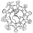Kinderkreis, Erde, Ausmalbild