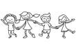 Kinder, Freundschaft, Ausmalbild