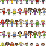 Fototapety Kinder, Menschenkette, seamless Wallpaper, endlos/wiederholbar,