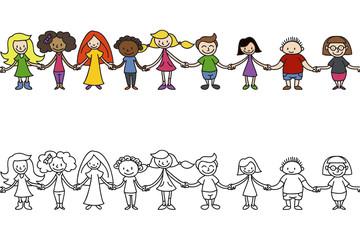Kinder, Menschenkette, endlos/wiederholbar