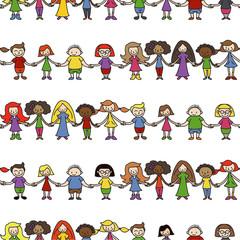 Kinder, Menschenkette, seamless Wallpaper, endlos/wiederholbar,