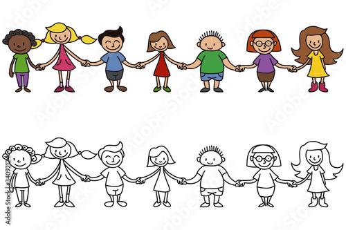 GamesAgeddon - Kinder, Menschenkette, Freundschaft - Lizenzfreie ...