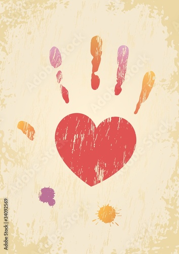 Grunge page with the heart-shaped hand print and color spatters