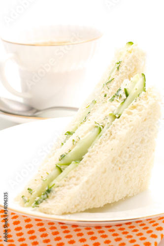 The triangular sandwich with cucumber
