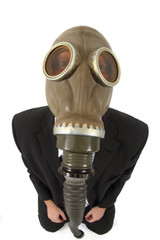 manager in the gas mask