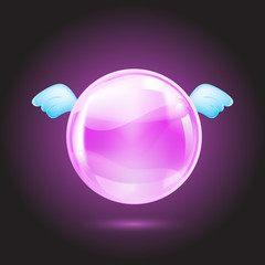 pink crystal ball with blue wings