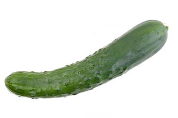 Eine Salatgurke von oben auf weißem Hintergrund