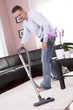 Living room cleaning vacuum cleaner.