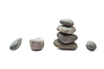 A few stones of different sizes.