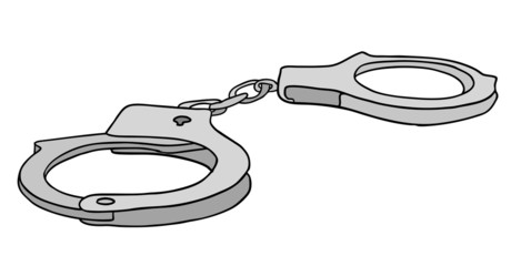 metal handcuffs vector