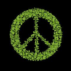 Green plant peace symbol.